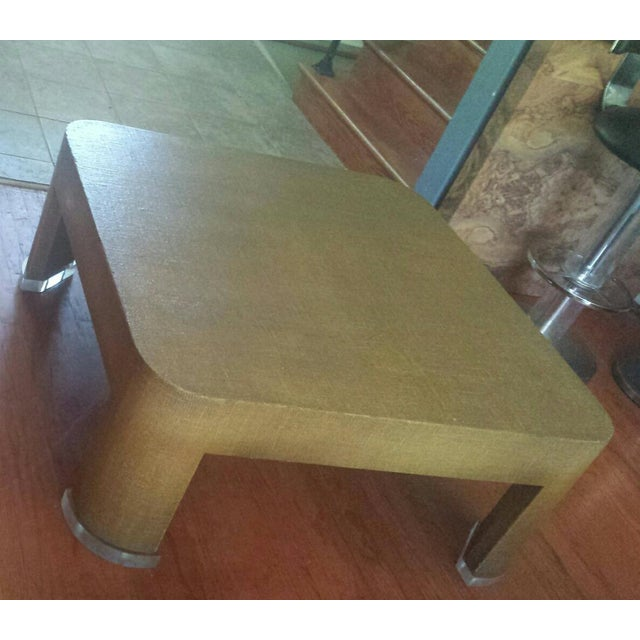 Square Grasscloth Coffee Table After Karl Springer - Image 2 of 10
