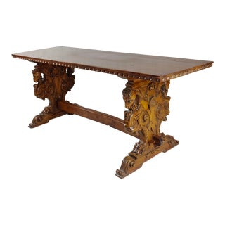 19th Century Highly Carved Ram Trestle Table For Sale
