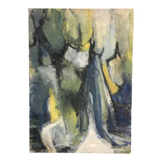 1966 Mid-Century Abstract Painting on Canvas