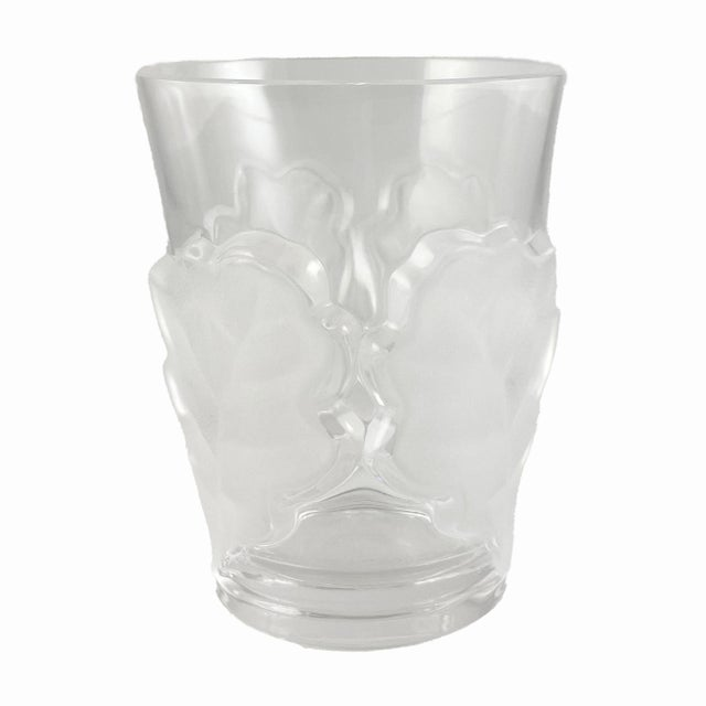 Wood Vintage Lalique Chene Double Old Fashioned Whiskey Glass, Signed For Sale - Image 7 of 7
