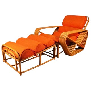 Paul Frankl Style Square Pretzel Rattan Lounge With Ottoman For Sale