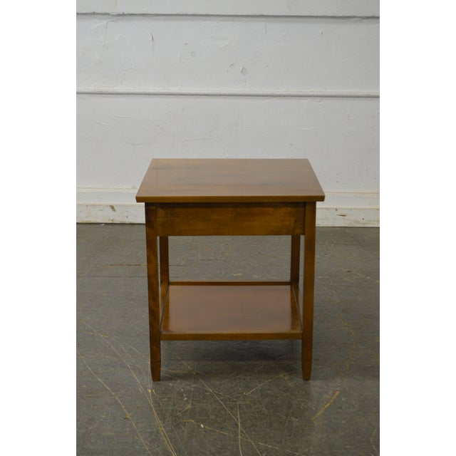 Mid Century Modern Maple 1 Drawer Nightstand Side Table