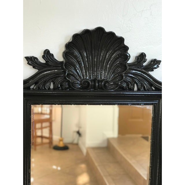Coastal Regency Ornate Scalloped Shell Black Lacquered Mirror For Sale - Image 10 of 13
