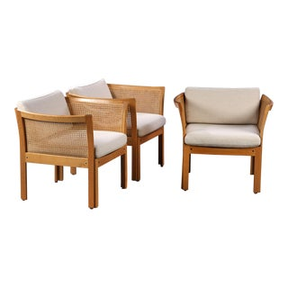 1960s Illum Vikkelso Oak and Grey Fabric Plexus Easy Chairs - Set of 3 For Sale