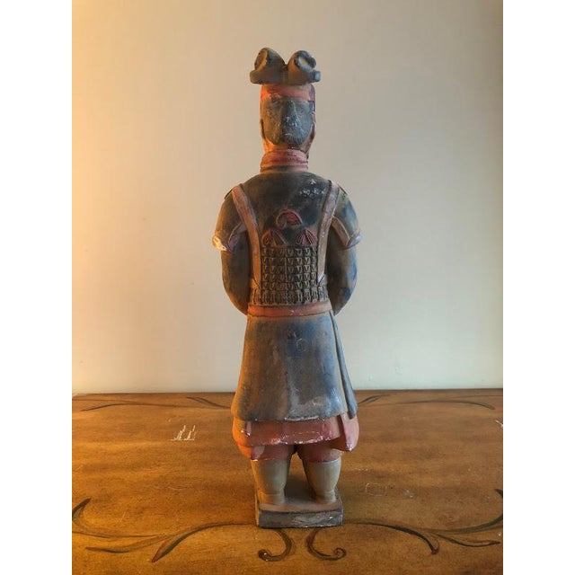 Hand Painted Chinese Emperor Qin She Huang Terracotta Figurines - A Pair For Sale - Image 4 of 7