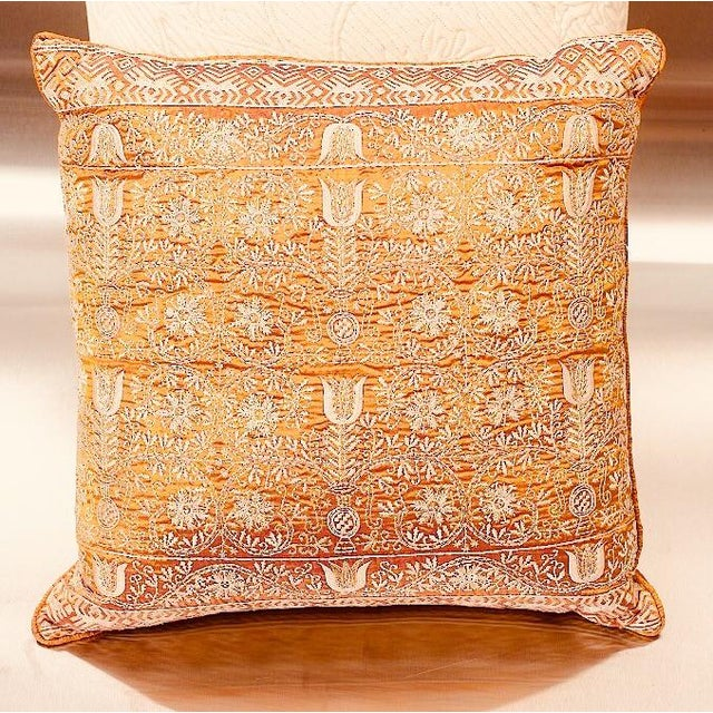 2010s Embroidered Handwoven Silk Pillow For Sale - Image 5 of 5