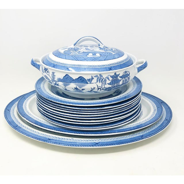 """Amazing set of antique blue canton pattern dinnerware. Backs are stamped """"Woods & Sons - England"""". Woodsware -Enoch 1784 -..."""
