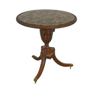 Maitland Smith Carved Mahogany Round Marble Top Side Table For Sale