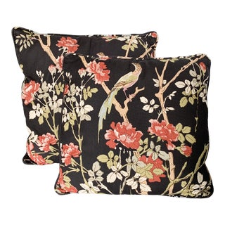 Vintage Chinoiserie Floral Paradise Birds Pillow Set For Sale