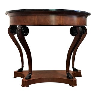 Biedermeire Henredon Demilune Console With Marble Top For Sale