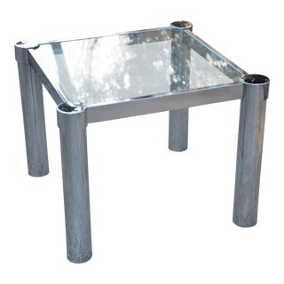 Chrome & Glass Milo Baughman Style Side Table