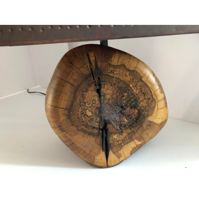 Copper 1970s Organic Burl Wood Lamp With Copper Shade For Sale - Image 8 of 11