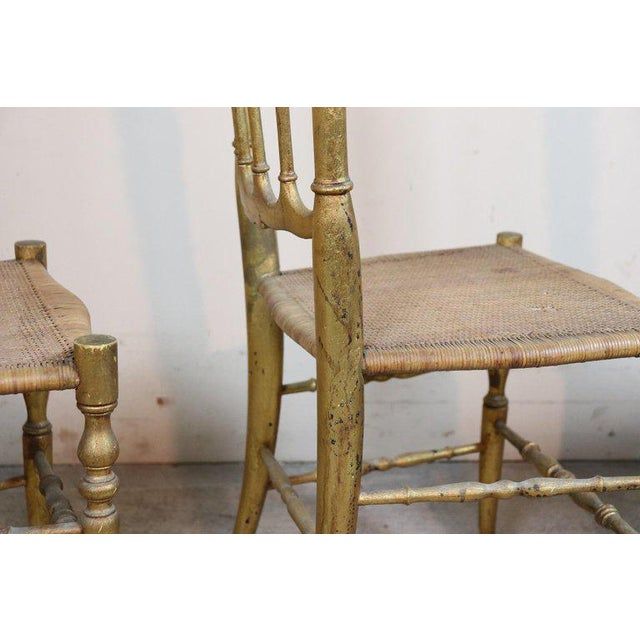 Chiavari 19th Century Italian Set of Four Turned and Gilded Wooden Famous Chiavari Chairs For Sale - Image 4 of 10