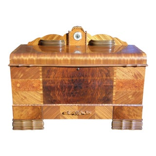 Antique Lane Art Deco Waterfall Cedar Chest Trunk with Lanshire Clock 1948 For Sale