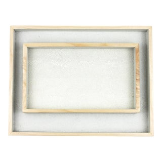 White Faux Shagreen Trays - A Pair