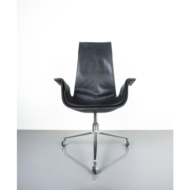 Black Blue High Back Bird Desk Chair by Fabricius and Kastholm Fk 6725, 1964 For Sale - Image 6 of 12