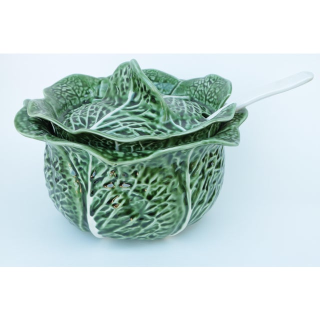 Ceramic Majolica Cabbage Covered Soup Tureen & Cabbage Ladle For Sale - Image 7 of 7