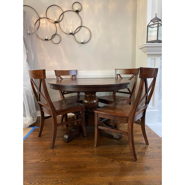 Wood Traditional Pottery Barn Dining Set - 5 Pieces For Sale - Image 7 of 7
