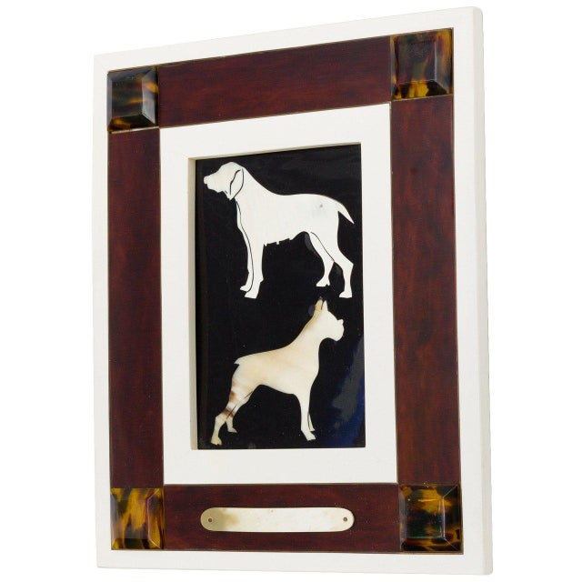 White Italian Horn and Resin Dog Picture For Sale - Image 8 of 8