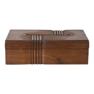 Large Box in Solid Walnut, France, 1930s