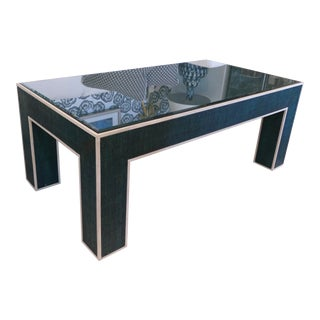 Contemporary Teal Grasscloth Coffee Table For Sale