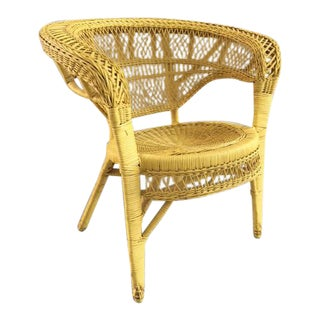 "1960s Mid-Century Modern Great ""Swan"" Yellow Wicker Chair For Sale"