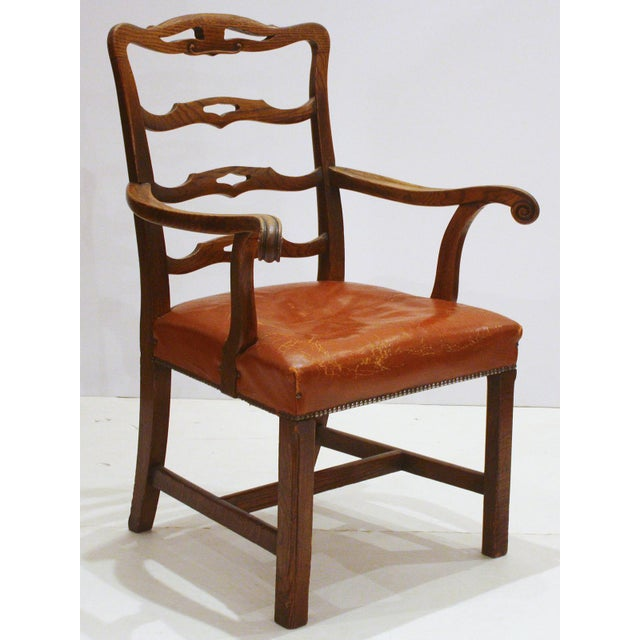 English Host Chair / Ladderback Arm-Chair With British Tan Saddle Leather Seat For Sale In Dallas - Image 6 of 6