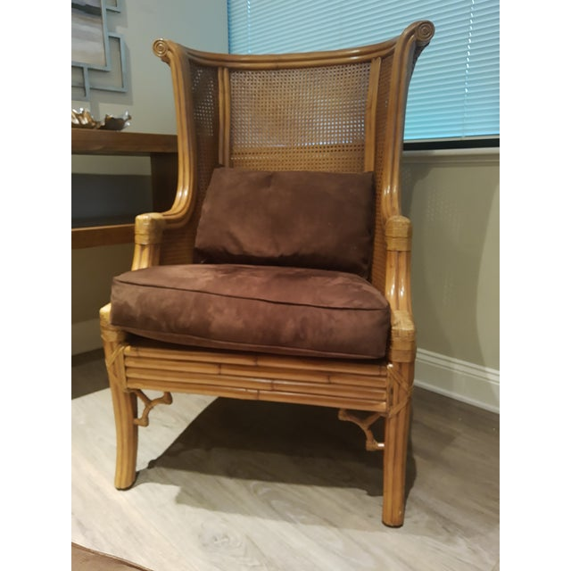 Lane Venture #80020-54 Cane Back Wind Chair and 80-020-50 Ottoman in Cappuccino Fabric #0311-99. Chair used in a furnished...