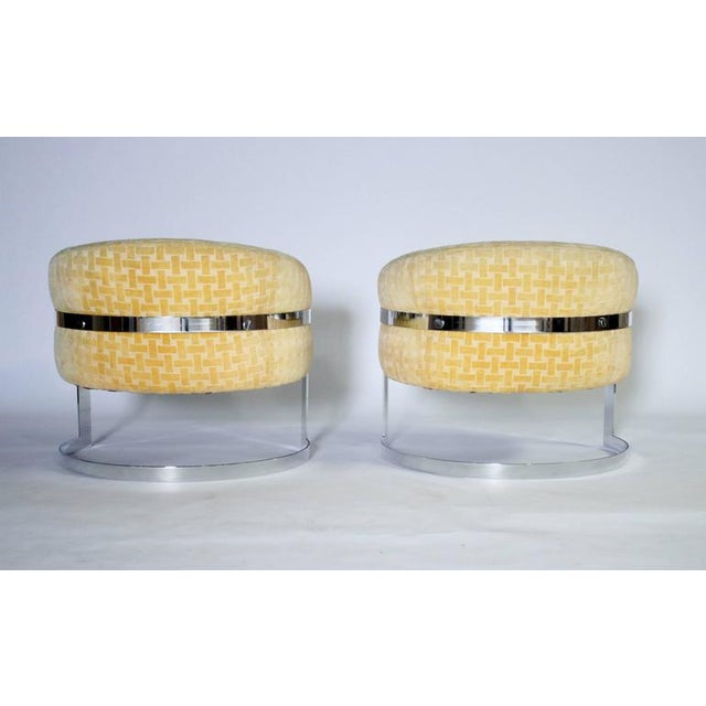 Mid-Century Modern Milo Baughman Mid-Century Modern Cantilevered Chrome Barrel Chairs For Sale - Image 3 of 7