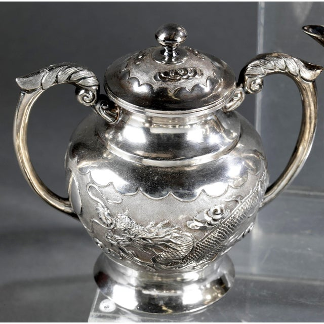 Chinese Export Sterling Silver Tea Set with Dragon Design Tianjing Wuhua - 13 Pieces For Sale - Image 4 of 13