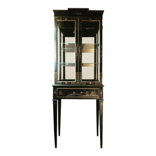 1960s Chinoiserie Lighted Display Cabinet For Sale