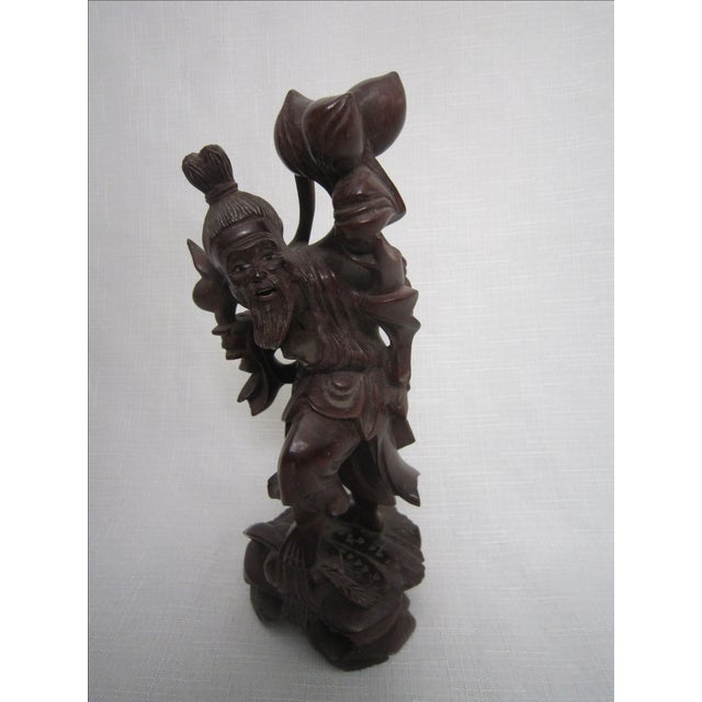 Chinese Rosewood Figures - Set of 3 For Sale - Image 5 of 7