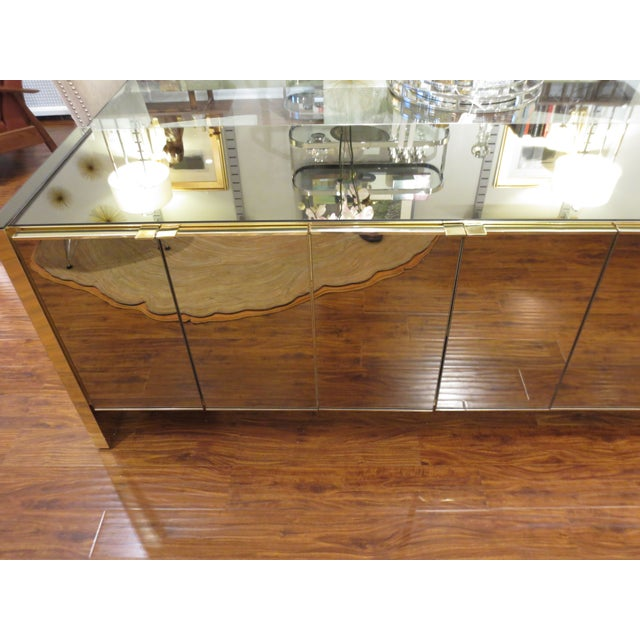 Vintage Ello Bronze Mirror Buffet with Brass Trim - Image 3 of 6