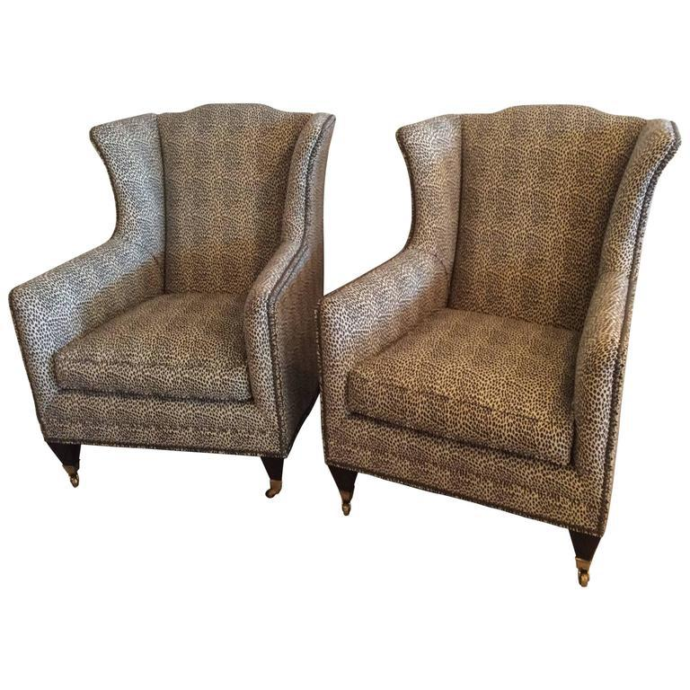 Henredon Vintage Wingback Animal Print Chairs   A Pair For Sale   Image 10  Of 10