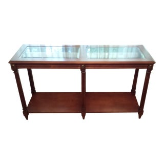 Vintage Solid Fruitwood and Beveled Glass Console Table For Sale