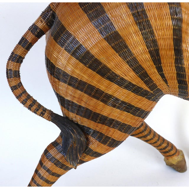 Asian Chinese Woven Reed Zebra Trinket Box For Sale - Image 3 of 13