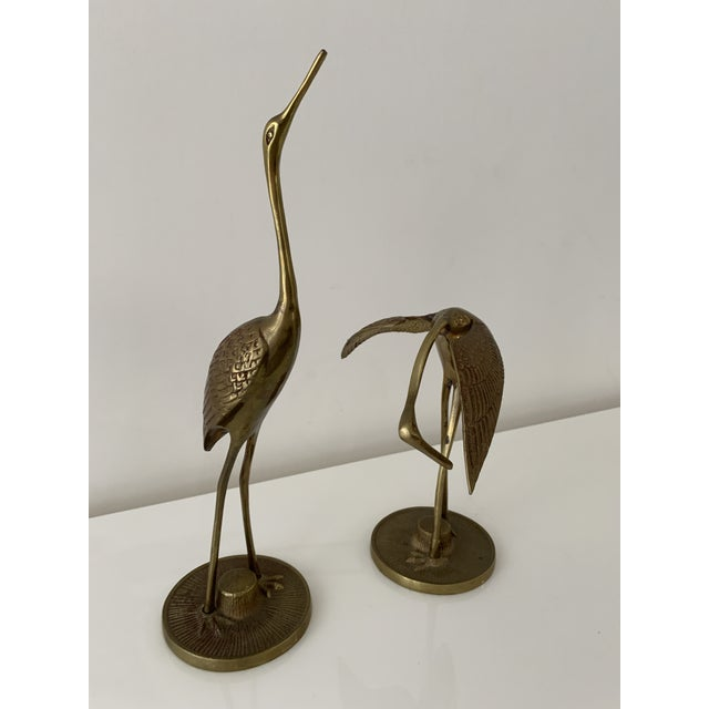 Brass Crane Figurines - a Pair For Sale - Image 10 of 10