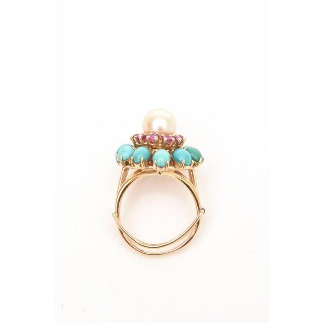 1980s Ruby, Pearl, Turquoise and 14 Karat Yellow Gold Dome Cocktail Ring For Sale - Image 5 of 8