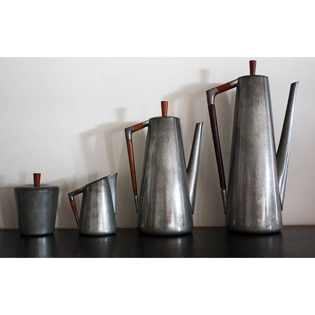 Mid-Century Modern Royal Holland Pewter Coffee Service Set With Tray For Sale - Image 3 of 8