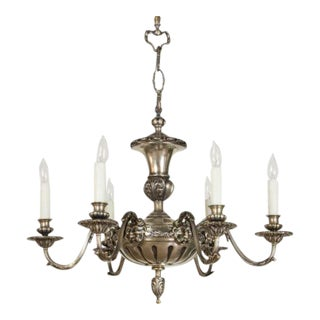 Antique Silver Satyr 6 Arm Chandelier For Sale