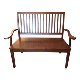 Mid-Century Mission Solid Wood Settee For Sale