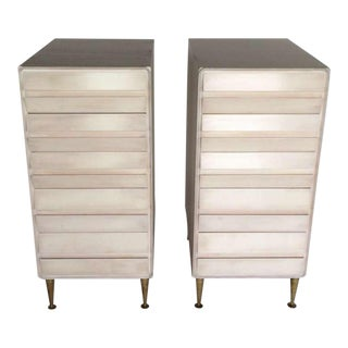 1950s Mid-Century Modern Unusual Birch Five-Drawer Chests - a Pair For Sale