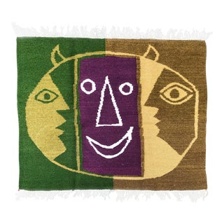 Mid Century Wool Flat Weave Tapestry Rug After Picasso For Sale