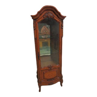 Antique French Regency Ambella Rhone Valley Carved Curio Crystal Cabinet