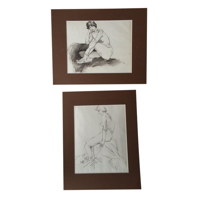 Pencil Nude Sketches - Pair For Sale
