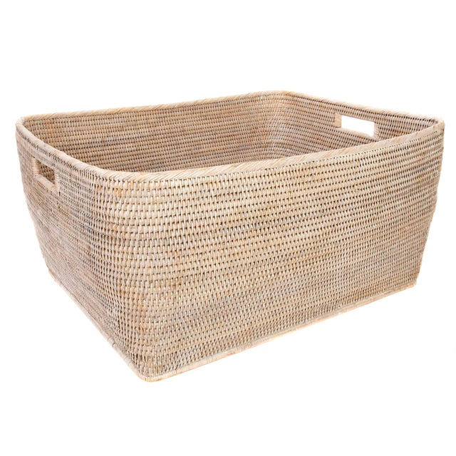 "2010s Artifacts Rattan Rectangular Basket 28""x22x13"" For Sale - Image 5 of 5"