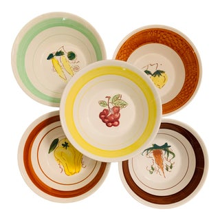 1960s Mismatched Ironstone Fruit Themed Cereal Bowls - Set of 5 For Sale