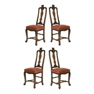 Queen Anne Style Dining Chairs in Leather and Nailhead For Sale