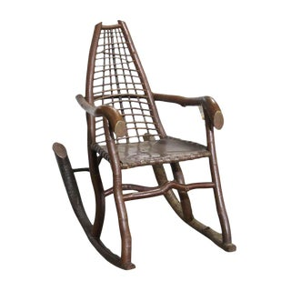 Handmade Birch & Copper Adirondack Rocking Chair For Sale