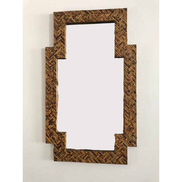 Bamboo Mid Century Herringbone Pattern Woven Rattan/Bamboo Wall Mirror For Sale - Image 7 of 7